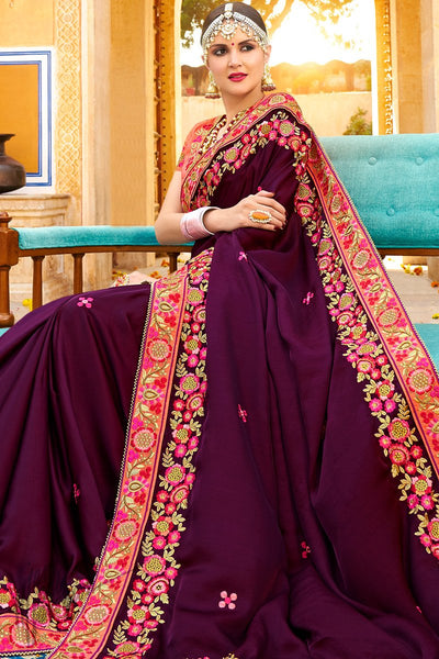 Plum Purple and Peach Georgette and Silk Saree
