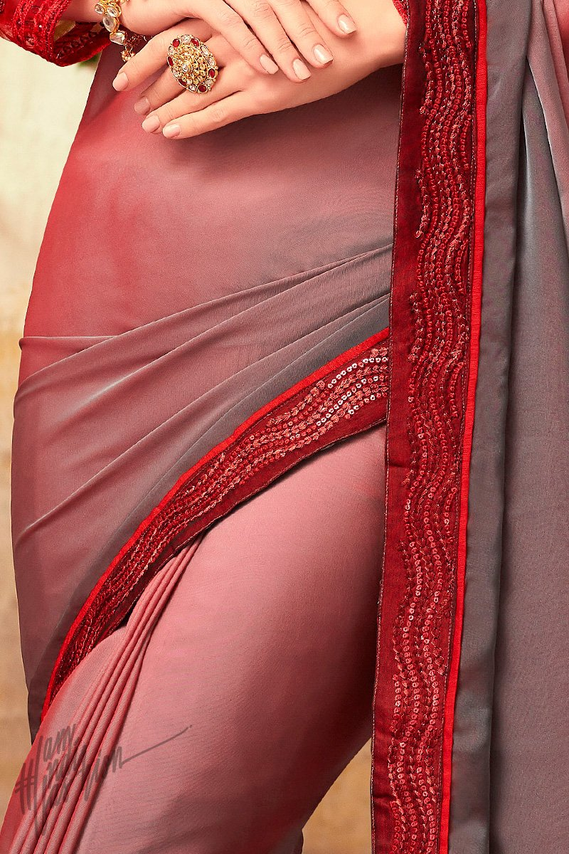 Red Mauve and Gray Shaded Silk Party Wear Saree
