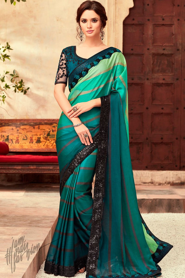 Hues of Green and Blue Silk Party Wear Saree