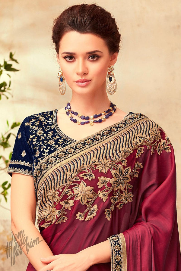 Wine and Navy Blue Silk Party Wear Saree