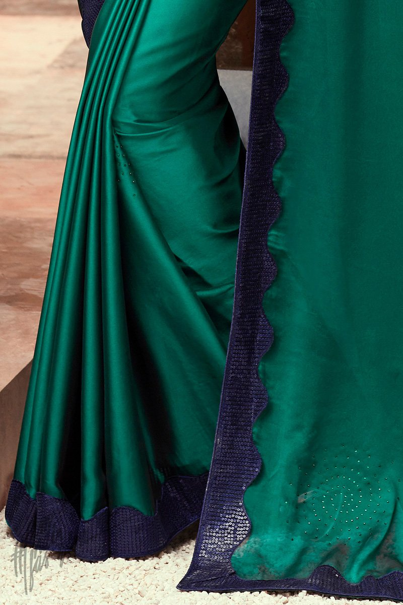 Turquoise Green and Navy Blue Silk Party Wear Saree