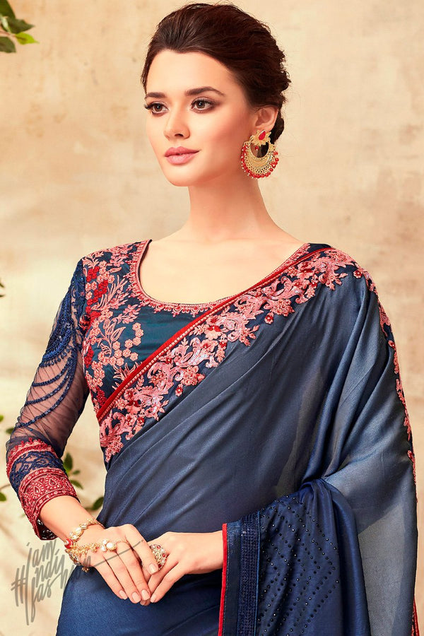 Prussian Blue Silk Party Wear Saree