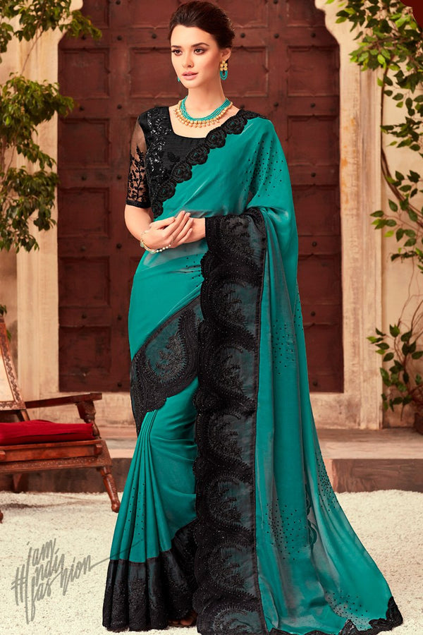 Ice Blue and Black Silk Party Wear Saree