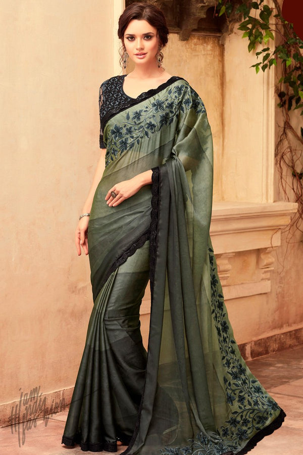 Hues of Olive Green and Gray Silk Party Wear Saree