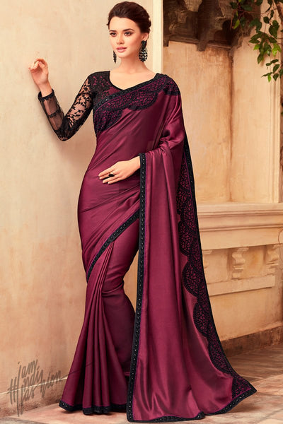 Wine Silk Party Wear Saree