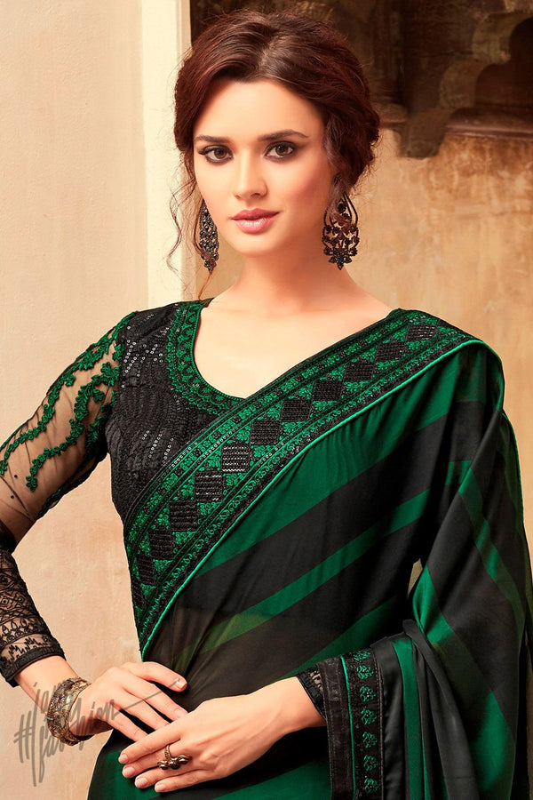 Black and Green Silk Party Wear Saree