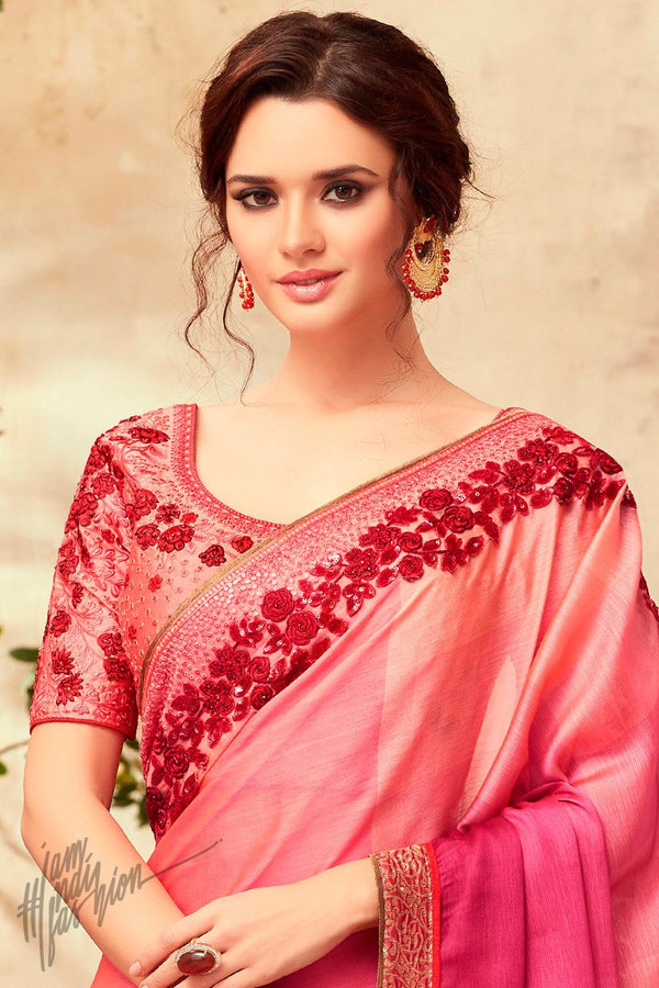 Hues of Pink and Orange Silk Party Wear Saree