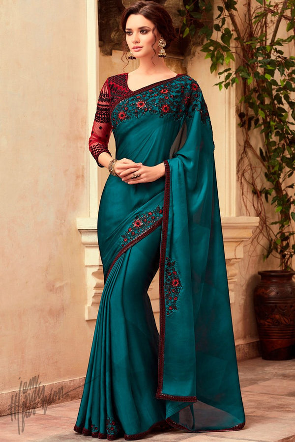 Ocean Blue and Maroon Silk Party Wear Saree