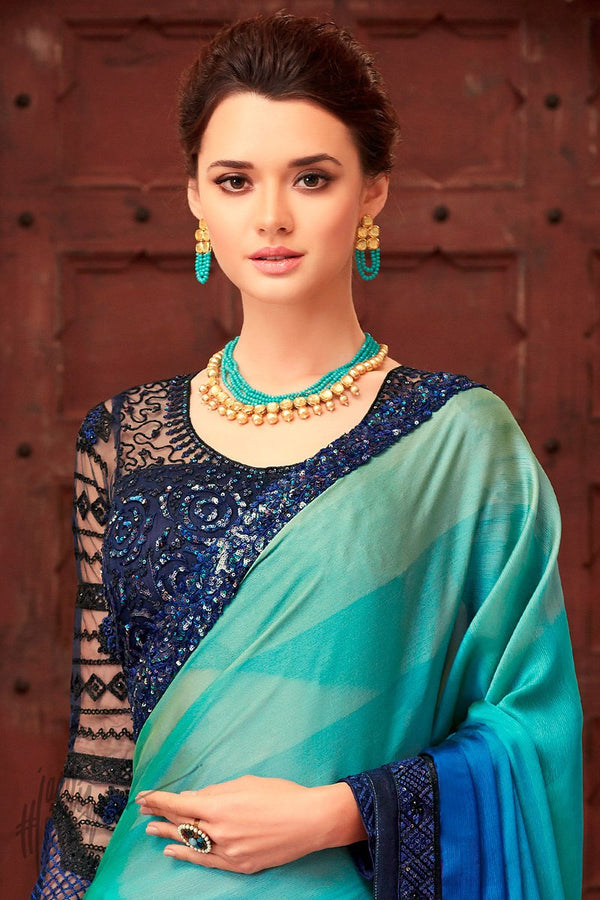 Hues of Blue and Green Silk Party Wear Saree