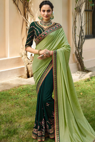 Pista and Bottle Green Silk Half and Half Saree
