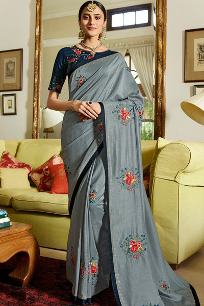 Gray and Navy Blue Silk Saree