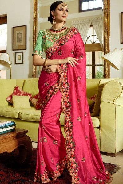 Rani Pink and Pista Green Silk Saree