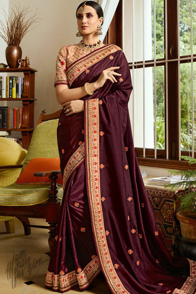 Wine and Peach Silk Saree