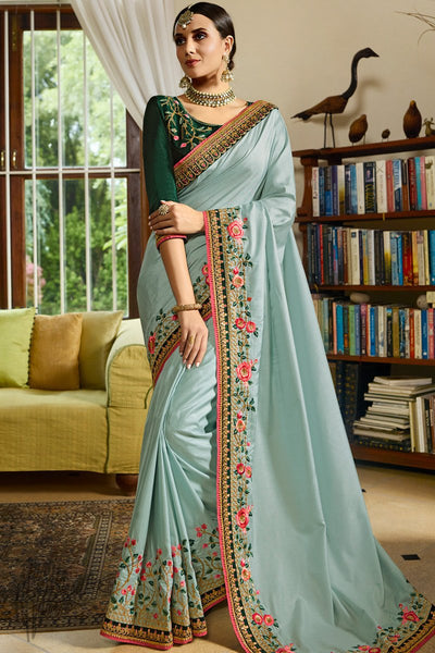 Light Skye Blue and Bottle Green Silk Saree