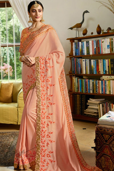 Peach Resham Satin Saree