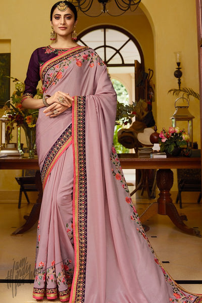 Mauve and Wine Silk Saree