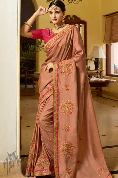 Rust and Pink Silk Saree