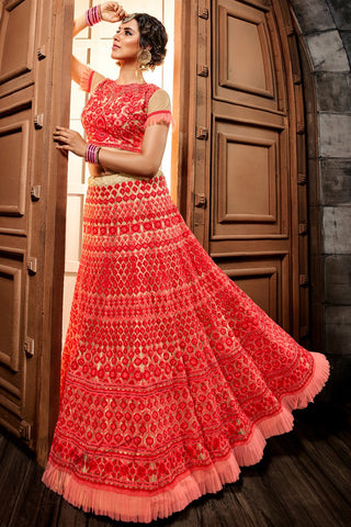Red and Cream Premium Net Lehenga Set