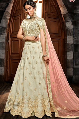 Off White and Pink Premium Silk Lehenga Set