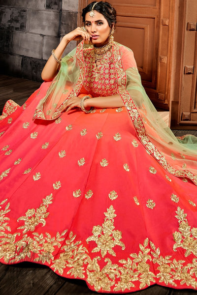 Peach and Pink Ombre Premium Silk Lehenga Set