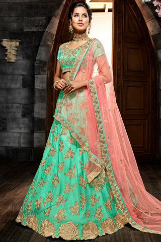 Sea Green and Pink Premium Silk Lehenga Set
