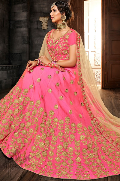 Pink and Beige Premium Silk Lehenga Set