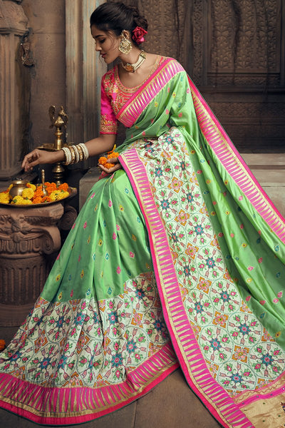 Pista Green and Rani Pink Banarasi Silk Wedding Saree