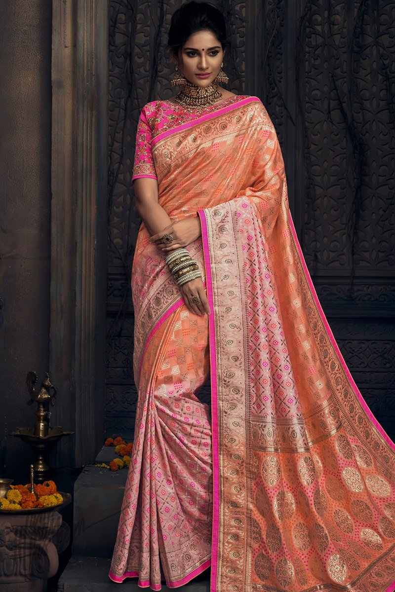 Buy Peach And Rani Pink Pure Dola Silk Wedding Saree Online At Indi Fashion Our kanchisarees embrace the rich quality of fiber and amazing. peach and rani pink pure dola silk wedding saree