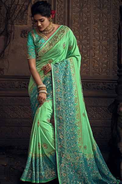 Pista Green and Firozi Pure Dola Silk Wedding Saree