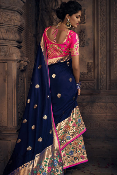 Navy Blue and Rani Pink Pure Dola Silk Wedding Saree