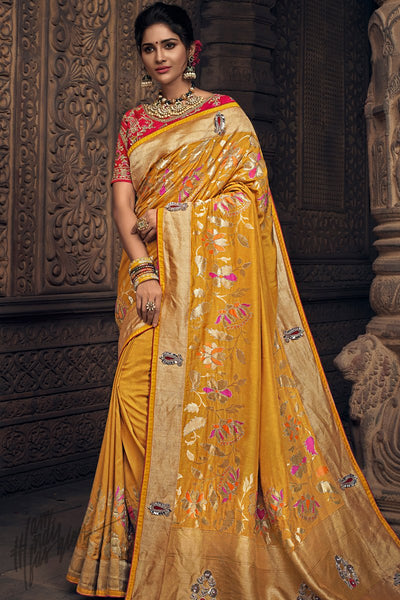 Mustard and Red Pure Dola Silk Wedding Saree