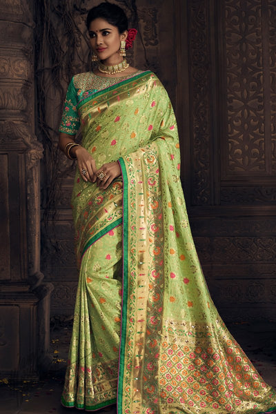 Pista and Rama Green Pure Dola Silk Wedding Saree