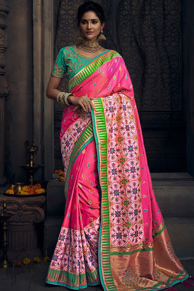 Rani Pink and Firozi Banarasi Silk Wedding Saree