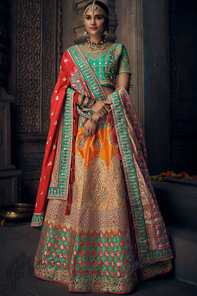 Orange Rama Green and Red Banarasi Silk Wedding Lehenga Set