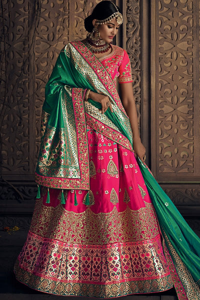 Rani Pink and Green Banarasi Silk Wedding Lehenga Set