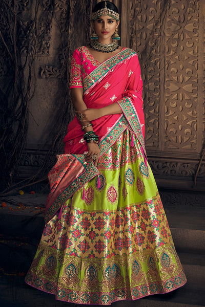 Parrot Green and Rani Pink Banarasi Silk Wedding Lehenga Set