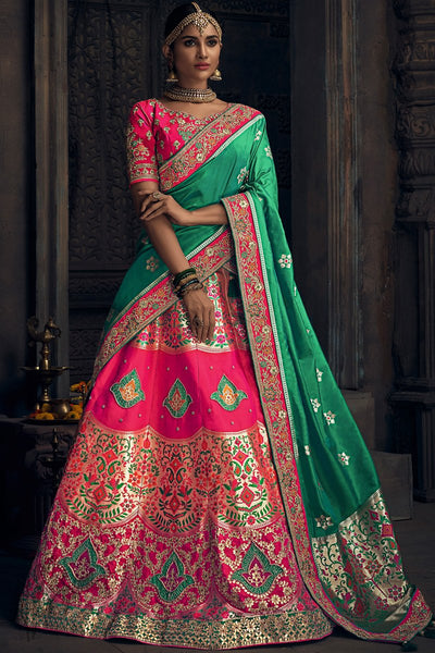 Pink and Green Banarasi Silk Wedding Lehenga Set