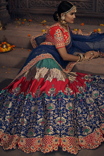Navy Blue Green and Red Banarasi Silk Wedding Lehenga Set