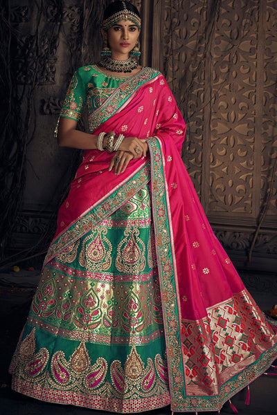 Rama Green and Rani Pink Banarasi Silk Wedding Lehenga Set