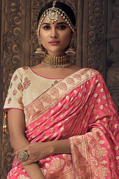 Cream and Baby Pink Banarasi Silk Wedding Lehenga Set