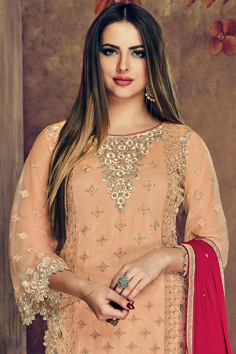 Buy Peach and Magenta Heavy Net Party Wear Suit online at indi.fashion