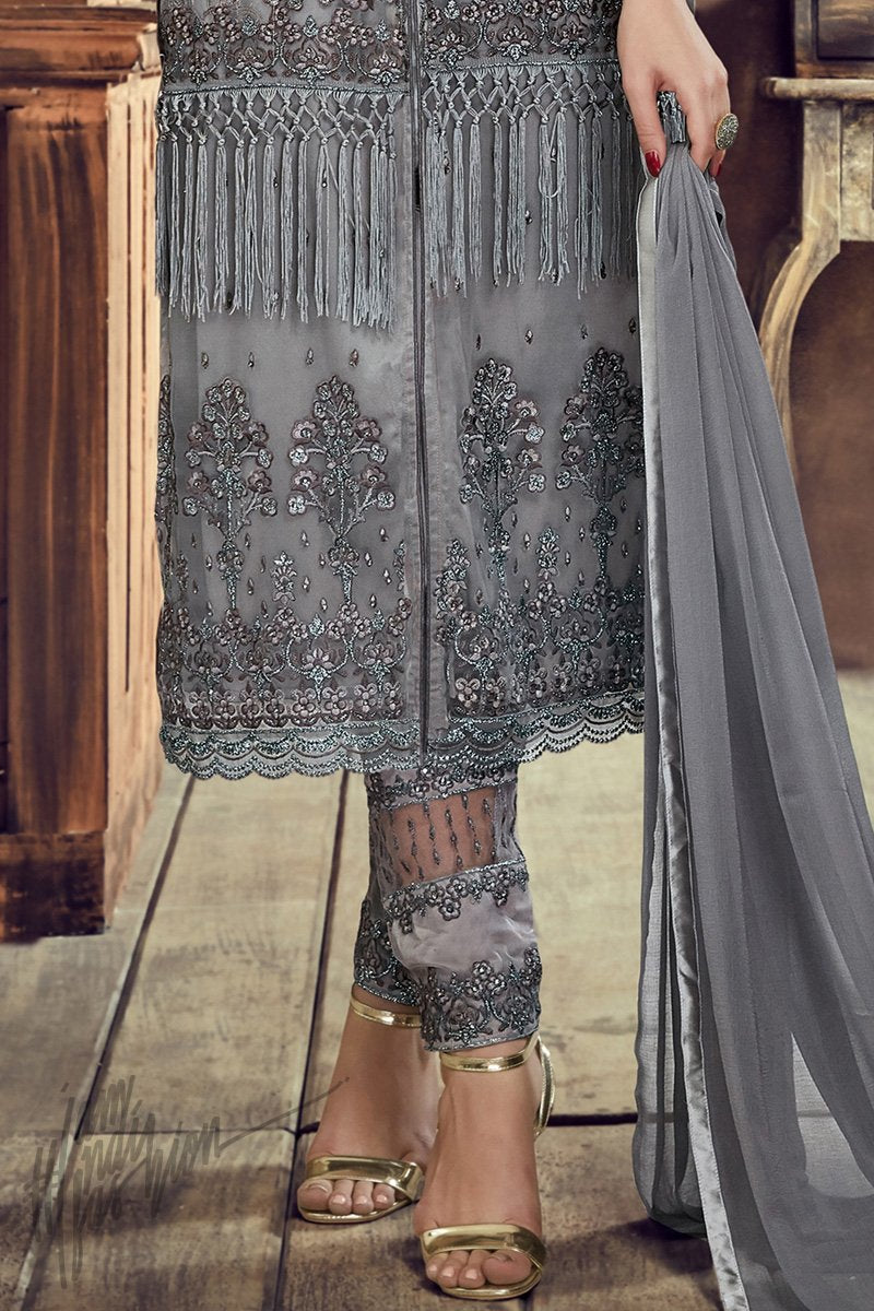 Buy Gray Heavy Net Party Wear Suit online at indi.fashion