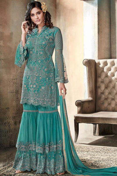 Turquoise Blue Heavy Net Sharara Suit