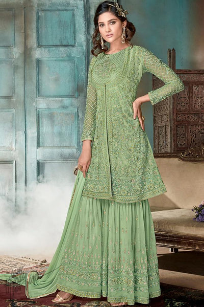 Green Heavy Net Sharara Suit with Jacket