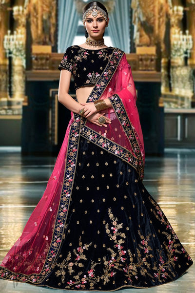 Navy Blue and Pink Velvet Lehenga Set