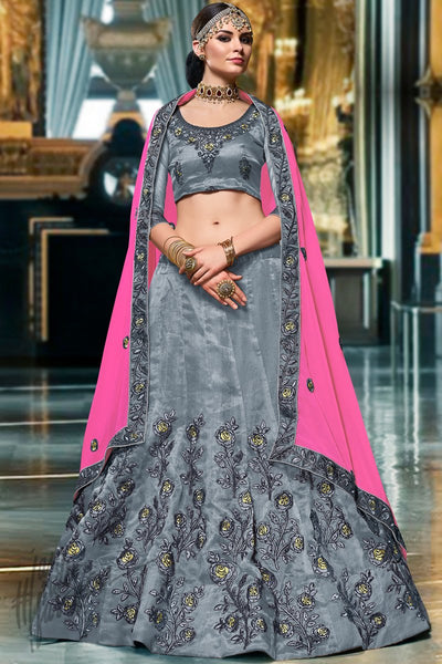 Gray and Fuchsia Organza Silk Lehenga Set