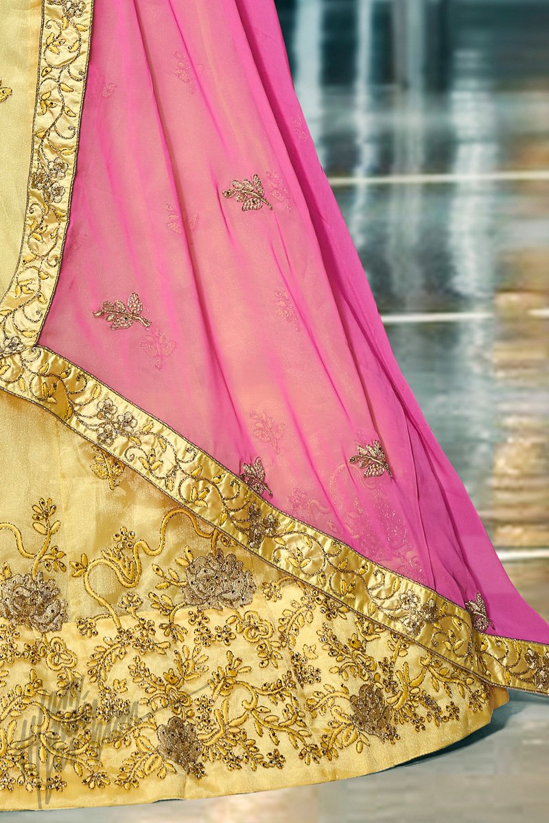 Yellow and Fuchsia Organza Silk Lehenga Set