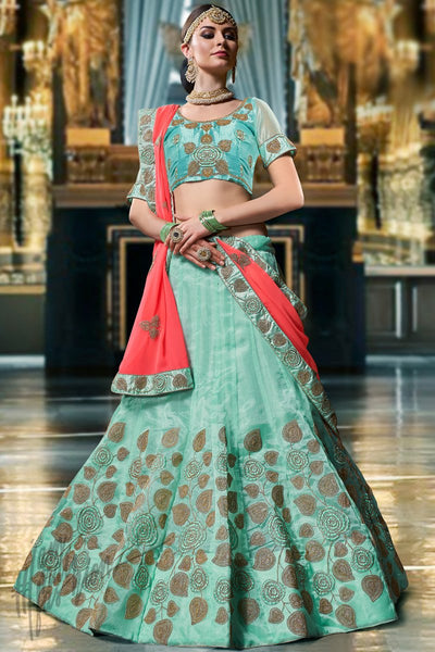 Sky Blue and Red Organza Silk Lehenga Set
