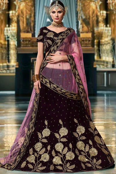 Dark and Light Purple Velvet Lehenga Set