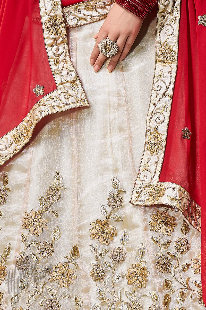 Off White and Red Organza Silk Lehenga Set